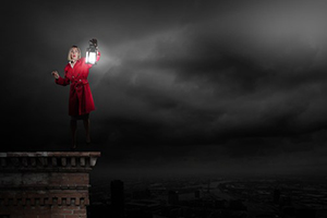 Six Rules for Engaging Bible Difficulties - women in red coat holding lantern on building top in dark night