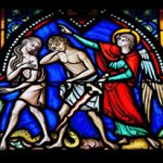 Satan's Greatest Victory - Weekly Blog Post by Dr. Craig Biehl - stained glass Adam, Eve, guardian angel, serpent