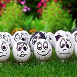 Gleaning from The Religious Affections (Part 10): Uncertain Signs Six and Seven: The Presence of Love and Many Affections at the Same Time - Weekly Blog Post by Dr. Craig Biehl - eggs with faces on grass