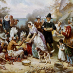 Ferris, Jean Leon Gerome, Artist. The first Thanksgiving 1621 / J.L.G. Ferris. Massachusetts, ca. 1932. Cleveland, Ohio: The Foundation Press, Inc. Photograph. Retrieved from the Library of Congress, https://www.loc.gov/item/2001699850/. (Accessed November 22, 2017.)