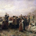 "The First Thanksgiving at Plymouth"" (1914) By Jennie A. Brownscombe - Stedelijk Museum De Lakenhal http://www.lakenhal.nl/persberichtendetail.php?id=144"